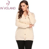 IN VOLAND Big Size Women Sweater Coat Autumn Casual Long Sleeve Button Solid Large Jumper Basic