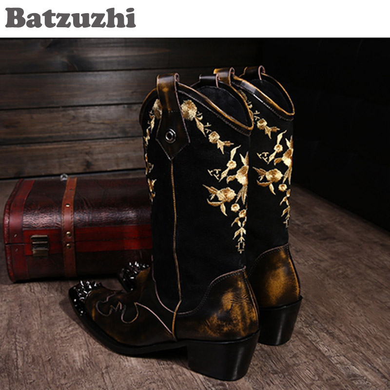 Botas Hombre Personalidad Para Cool Cuero Zapatos Marrón Eu38 Motocicleta ¡rock Super 46 De ¡batzuzhi La Caballero Vaquero ISFxnXq