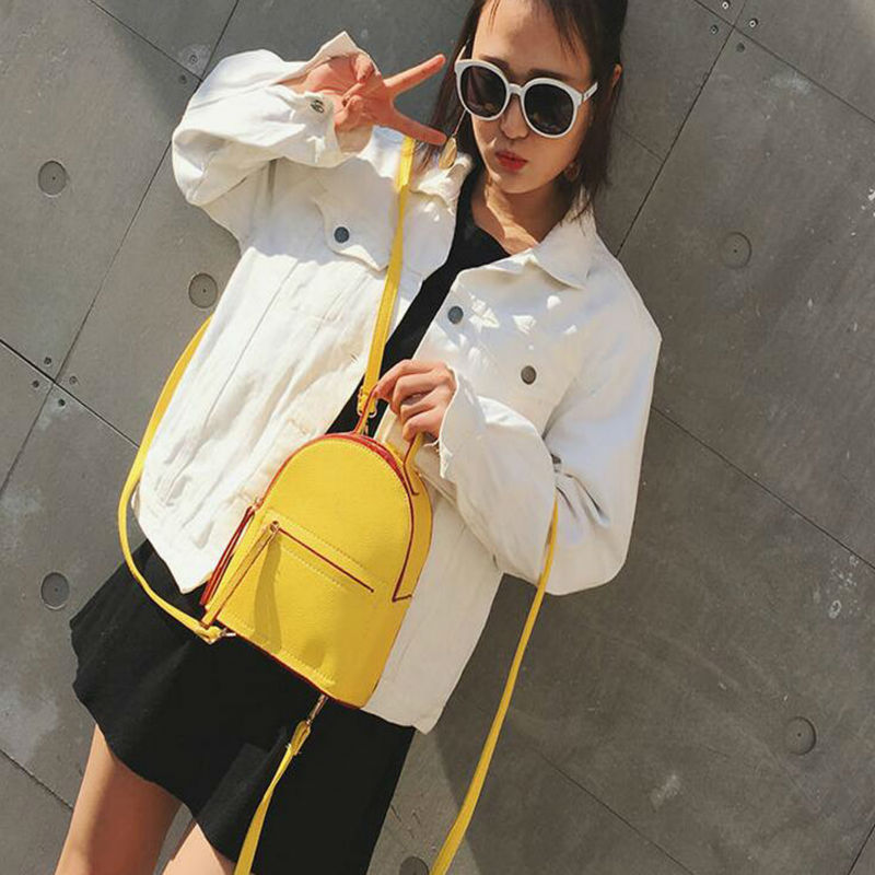 New Collection Mini Female Backpack British Style College Style Solid Simple Stereotyped Backpack Korean Style Elegant