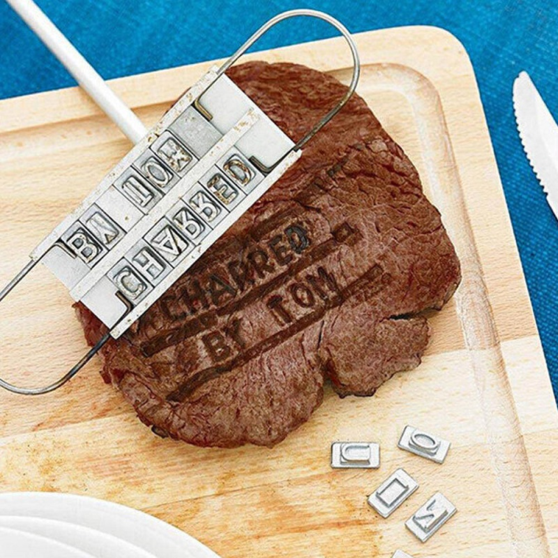 Romantic BBQ Tools with Branding Iron Unique Grill Sets Stamping Die with 55 Changeable Letters Barbecue BBQ Meat Branding iron