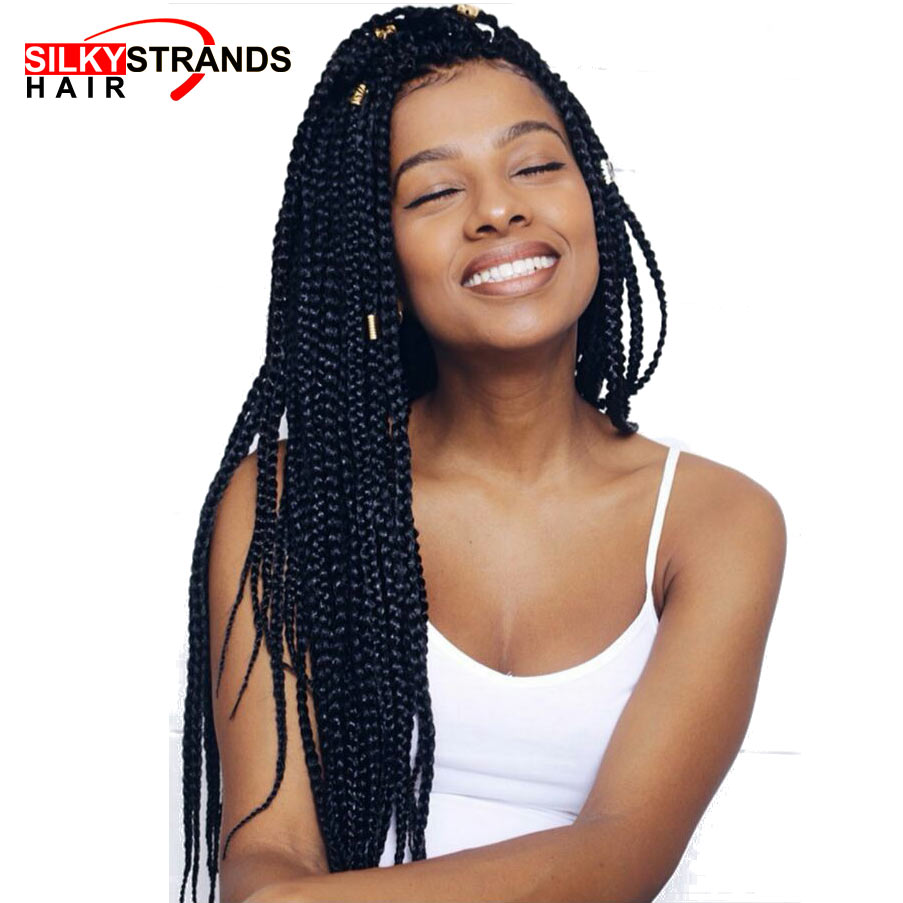 braid styles with synthetic hair silky strands medium box braids crochet hair extensions 8076