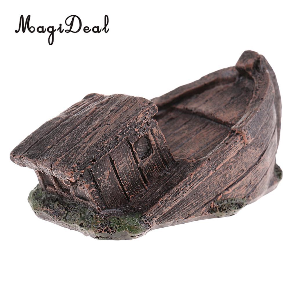 1Pc DIY Retro Resin Craft Wood Boat Model Figure Toy Micro Decor Miniatures