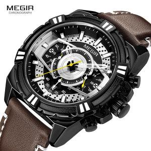 Image 2 - MEGIR Mens Chronograph Sport Quartz Watches Leather Strap Top Brand Luxury Army Wristwatch Relogios Masculino Clock 2118 Black