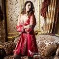 XIFENNI Brand Women Robe Sets Red Bride Bathrobes Two-Piece Pijama Long-Sleeved Embroidery Lace Imitation Silk Sleepwear 1398