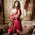 XIFENNI Marca Mujeres Albornoces Robe Sets Novia Rojo de Dos Piezas Pijama de Manga Larga de Encaje Bordado ropa de Dormir de Seda de Imitación 1398