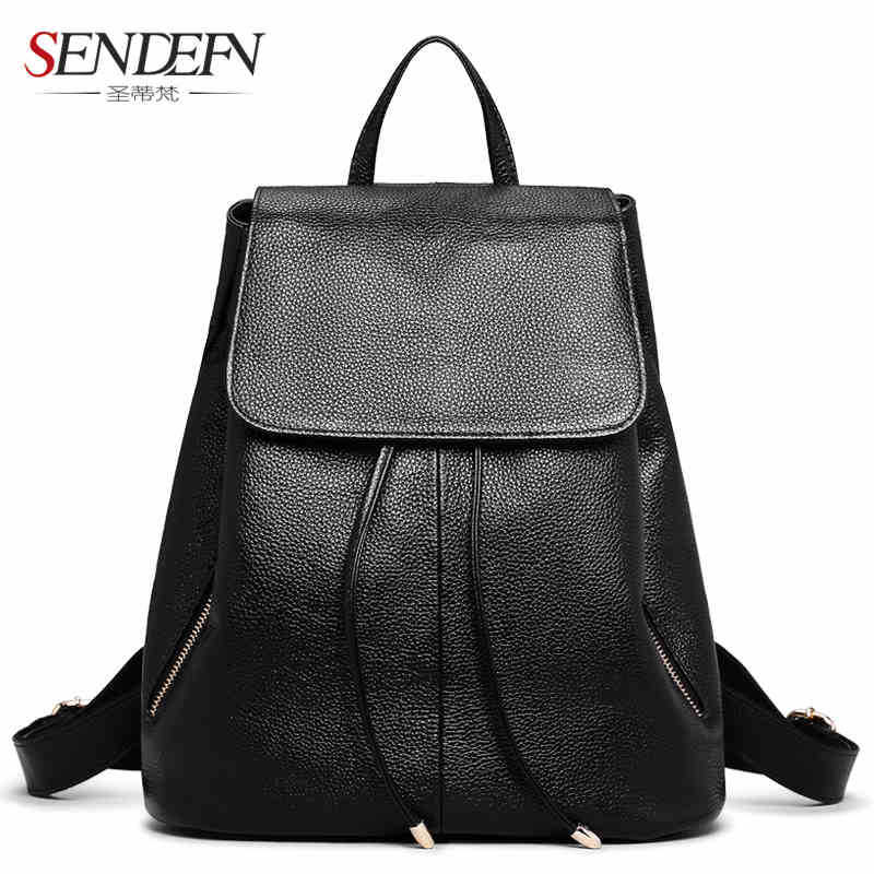 ФОТО Genuine Leather new fashion women backpack female leather backpack first layer cowhide backpack
