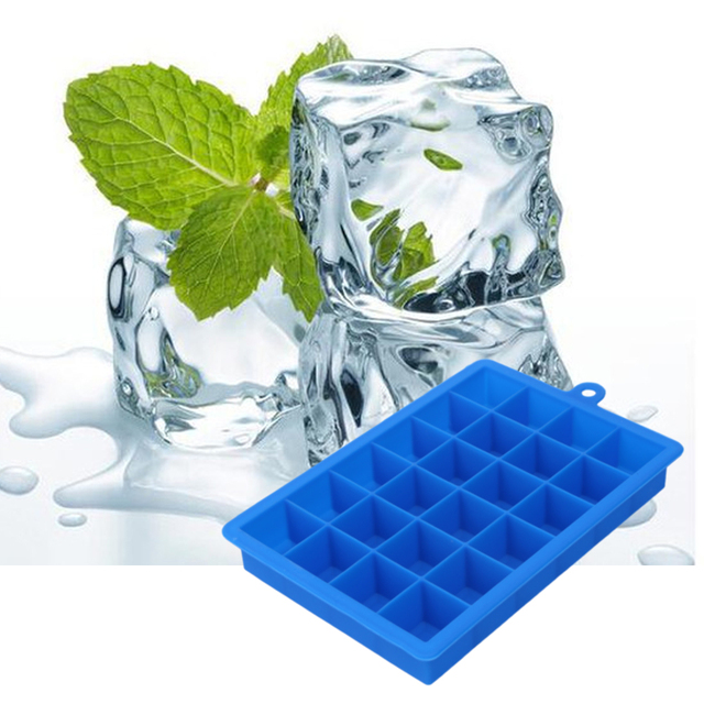 Large 24 Grids Silicone Ice Tray DIY Ice Cream Maker Square Shape Form for Ice Fruit Ice Mold Kitchen Bar Drinking Accessories