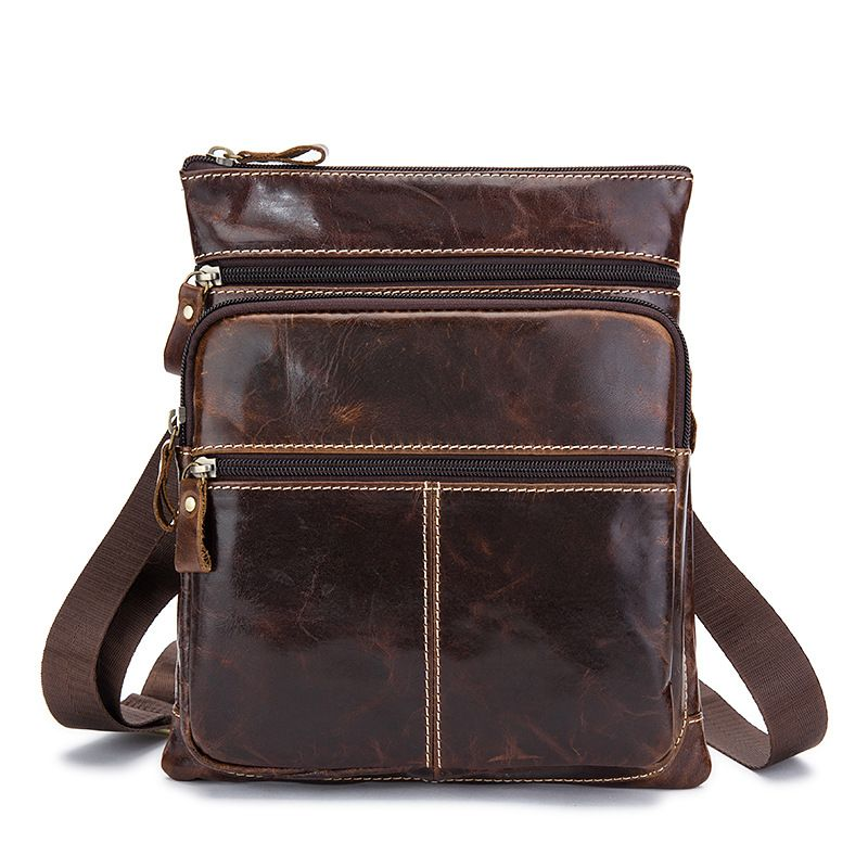 Vintage 100% First Layer of Genuine Cow Leather Casual Zipper men messenger bags first layer cow skin 100
