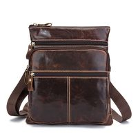 Vintage 100% First Layer of Genuine Cow Leather Casual Zipper men messenger bags