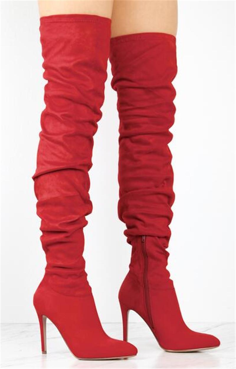 the Bottes Femmes Daim De Filles Bout Haute Super Rouge Talons rouge as Pictures Noir Mode Pointu Over genou Sestito Zipper Longues Femme Plissée c6qT8w8aYg