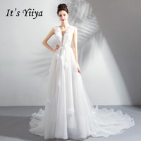 It's Yiiya V neck Wedding Dresses Train Sleeveless White Romantic Bride Dress A line Trailing Illusion Ruched Bride Gowns LX809