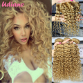 3 Bundles Honey Blonde Brazilian Curly Virgin Hair Extensions With Closure Strawberry Blonde #27 Curly Lace Closure 4x4 7JC01LC