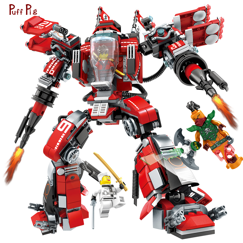 737pcs Ninjagoing Movie Fire Mech Deformation Robot Building Blocks Compatible Legoed Technic Bricks Educational Toys Kids Gift