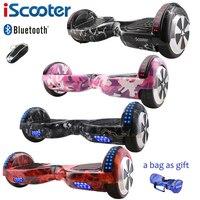 Iscooter hoverboard 6.5 بوصة بلوتوث و مفتاح اثنين عجلة التوازن الذاتي الكهربائية سكوتر الكهربائية hoverboard