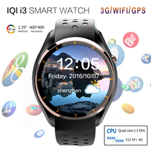 Neueste iqi i3 smart watch mtk6580 android 5.1 os silikon sport armband sim-karte 3g wifi gps google play heart rate smartwatch