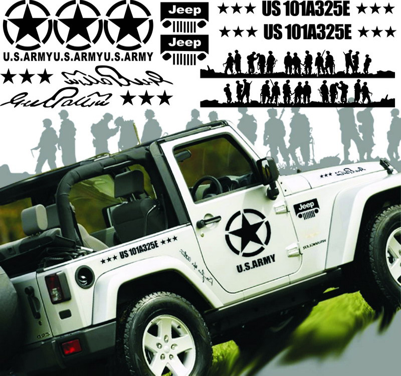 Car Stickers The Band of Brothers US Army 101A325E Creative Decals For Whole Body Waterproof Auto Tuning Styling 100*100cm  D20 1pair universal fashion car sticker decals fire flame decor vinyl decoration stickers auto truck styling for the whole car body