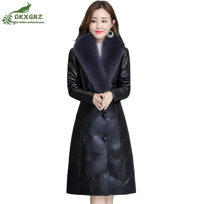 Plus Size M~4XL Haining   Leather   Winter Coat Women Clothing Korean Fur Collar Fur Coat Women Down Jackets Warm Thick Faux   Leather