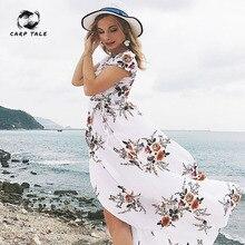 2019 Women Summer Boho Floral Print Chiffon Long Dress Sexy Sleeveless Hem Split Maxi Dress Casual Beach Dresses CARP TALE plus floral print split hem dress
