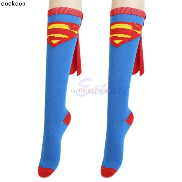 f00c752e6e2 Super Hero Superman Batman Knee High With Cape Soccer Socks Cosplay Costume