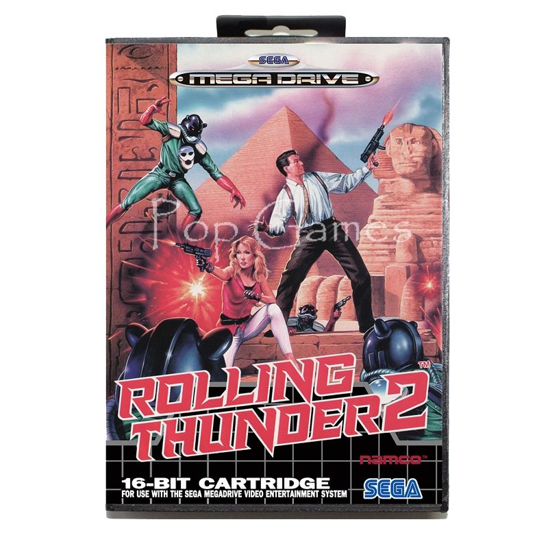Rolling Thunder 2 US Sticker with Box for 16 bit Sega MD Game Card for Mega Drive for Genesis Video Console