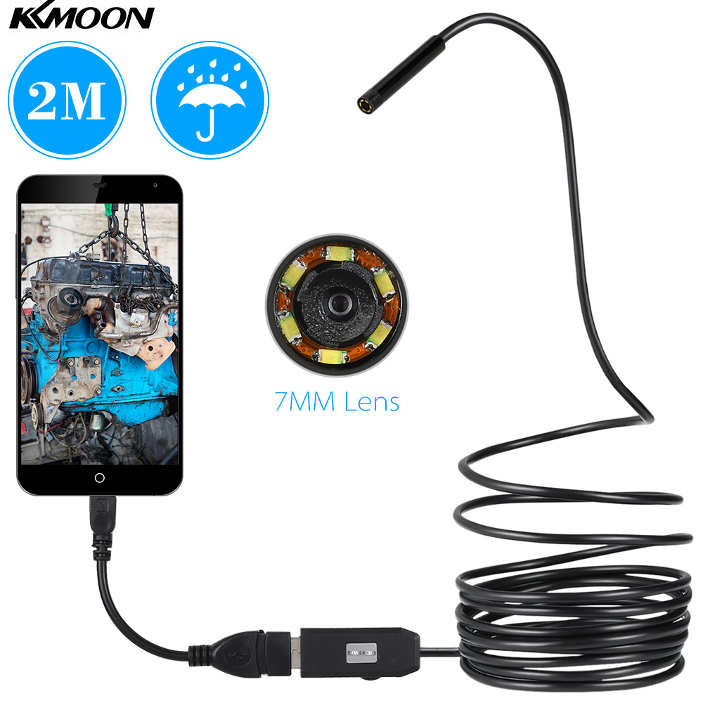 USB Endoscope 0.3MP Borescope 7mm 2M Cable Probe Waterproof Inspection Borescope 6 LEDs USB Wire Snake Tube Camera-in Surveillance Cameras from Security & Protection