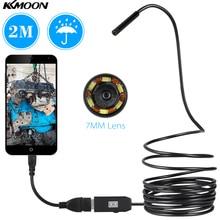 USB Endoscope 0.3MP Borescope 7mm 2M Cable Probe Waterproof Inspection Borescope 6 LEDs USB Wire Snake Tube Camera