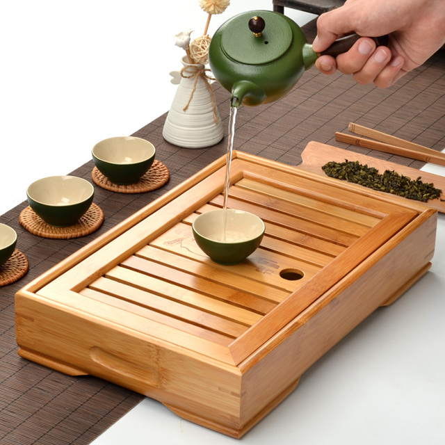 Good Bamboo Kongfu Tea Table Serving Tray Chinese Wooden Tea Tray Tea Set Water  Storage Traditional Teaware