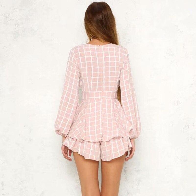 f5f616ac88 QV10MEJik1o6yOq2d  yinlinhe Pink Plaid Playsuit Women Long Sleeve V neck  Sexy Short Jumpsuit Summer Sash Slim Waist ...