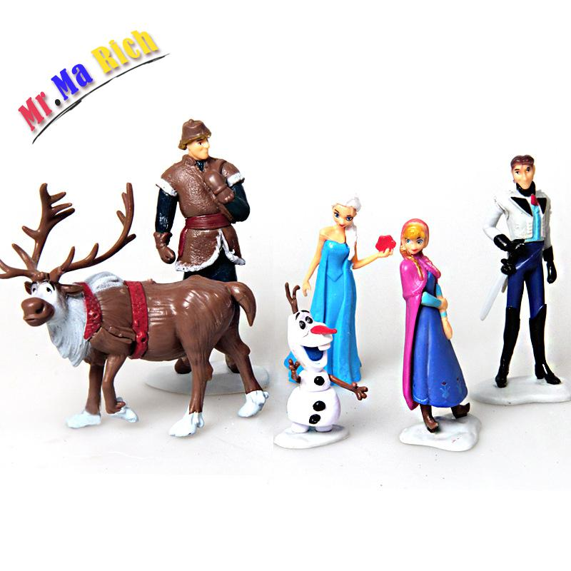 6pcs/set Anime Toys For Kid Snow Queen Anna Elsa Figures Kristoff Sven Olaf Pvc Action Figure Toy Play Set Classic Toys