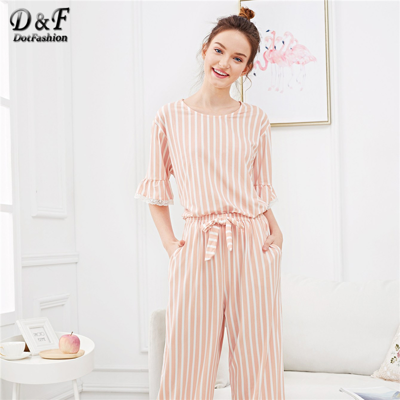Dotfashion Pink Lace Trim Striped   Pajama     Set   Women Autumn Clothing 2019 Casual Summer Short Sleeve Nightwear Womens   Pajama     Sets