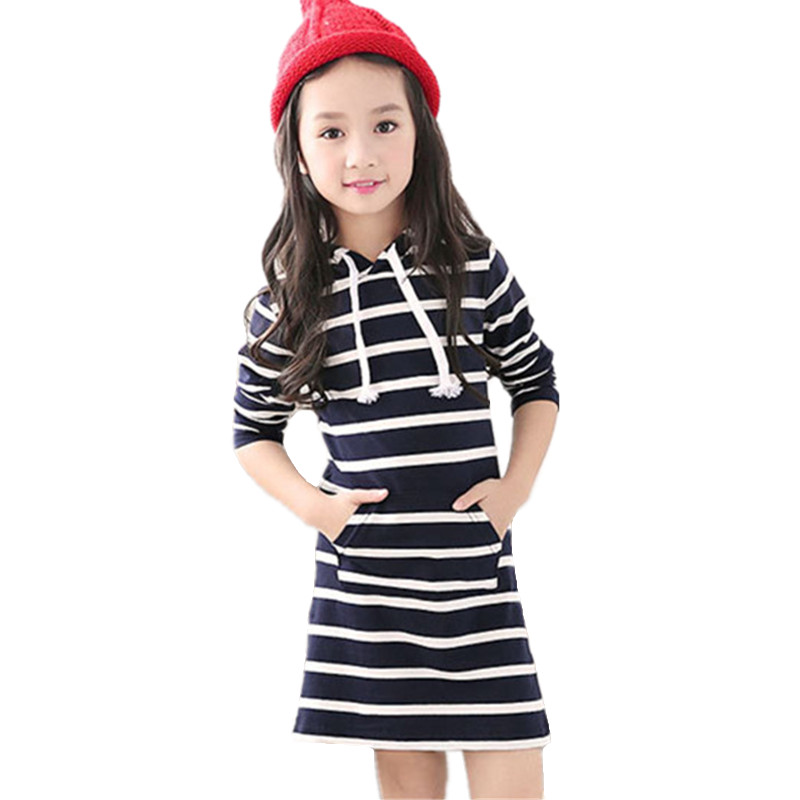 Spring Autumn Striped Girl Dress Casual Long Sleeve Infantil Children Clothing Hooded Vestidos Baby Dresses Kids Clothes 3-13Y 2017 new spring autumn children clothes child clothing dresses baby girl rabbit dress baby long sleeve mesh patchwork dress