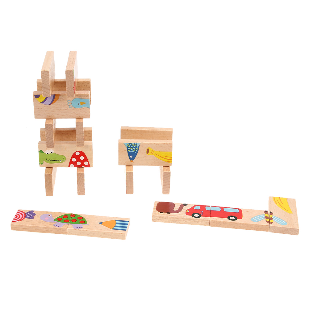 Colored Dominoes Wooden Cartoon Animal Puzzle Montessori Educational Baby Toys For Baby Birthday Gifts Kids Funny Learn Games cartoon educational puzzle wooden kids toys developmental wood toy montessori jigsaw puzzle speelgoed games for children 60d0037