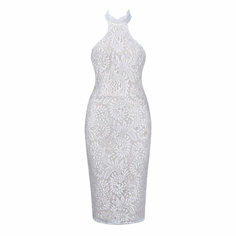 Elegante 21 Fasciatura Bianco Partito Vestito Dalla Del Aderente Progettista Sexy Mid Halter Da Qw Donne Merletto calf xIqa7qA