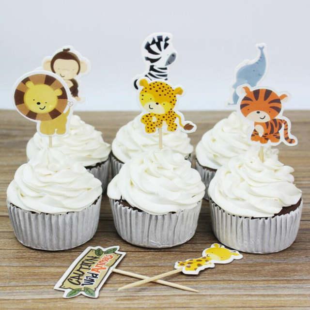 Online Shop Cartoon Zoo Jungle Animal Cupcake Topper Kids Boys Girls Baby Shower Birthday Cake Decorating Party Christmas Halloween