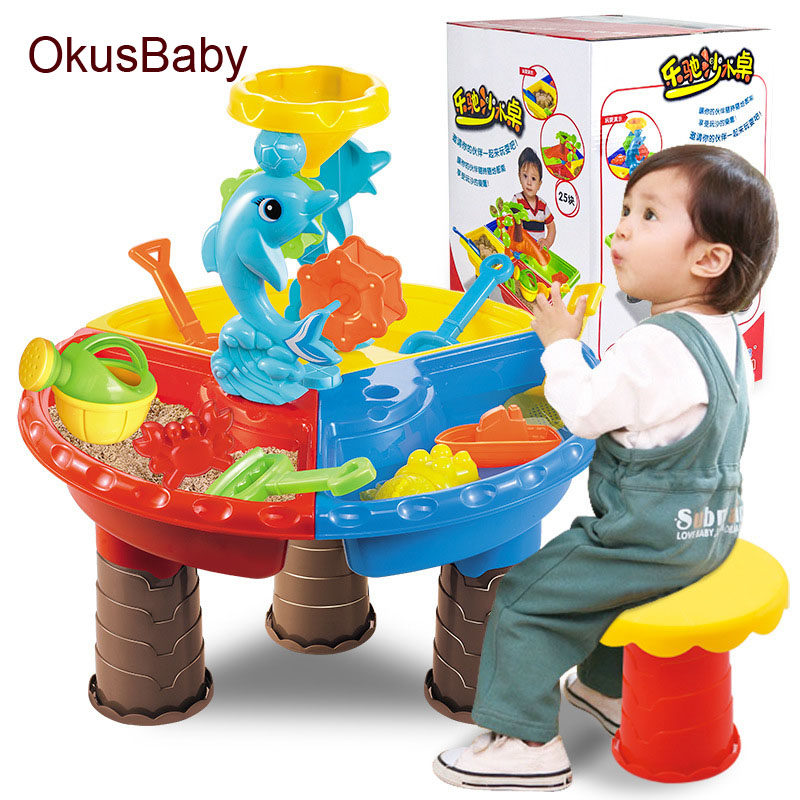 2019 Creative Baby Summer Sand And Water Table Box Baby Kids Children Outdoor Beach Waterwheel Toys Family Play Set