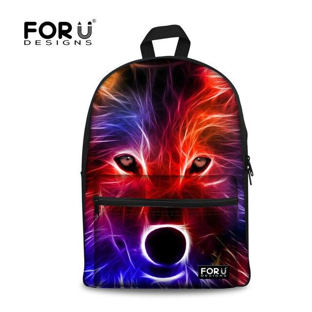 FORUDESIGNS Tumblr Style 3D Galaxy Wolf Print School Bags Kids Canvas Schoolbag For Boys Girls Cute Sheep Print Student Mochila