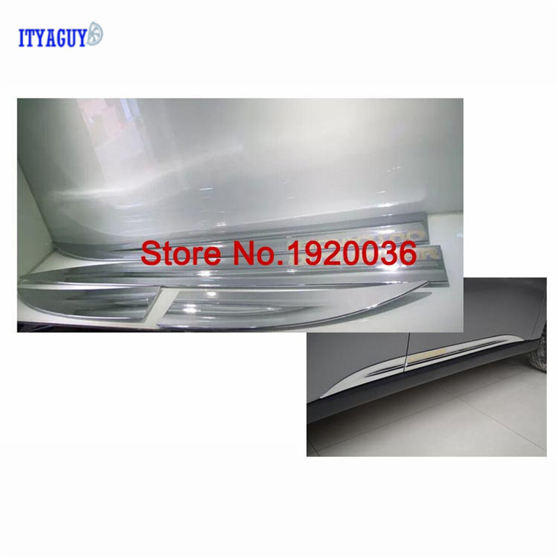 For Mitsubishi OUTLANDER EX 2014 Body Side Door Trim Molding Exterior cover Stickers ABS Chrome Car Accesories car styling abs chrome body side moldings side door decoration for hyundai ix35