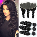 7A Peruvian Virgin Hair With Frontal Closure 13x4 Loose  Wave Ear to Ear Lace Frontal Closure With Bundles Loose Wave Human Hair