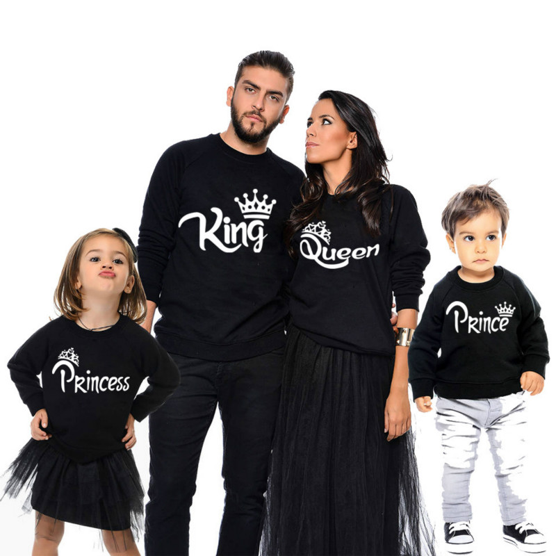 King Queen Couple Hoodies Children Princess Prince Household Outfits Matching Lengthy Sleeve Winter Black Pullover Unfastened Kind Informal Put on
