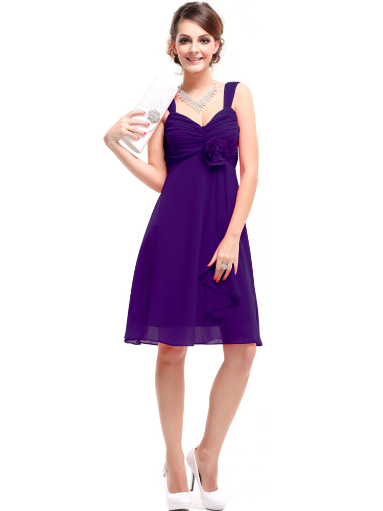 Pretty girl Purple Chiffon bridesmaid dress sisters dress short ...
