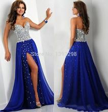 2019 Hot Sales Chiffon Blue Sweetheart Long Prom Dresses Rhinestones Diamonds Vestido de Fiesta Evening Party Gowns