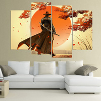 Wall Art Canvas Painting Red Steel Ubisoft HD Printed 4 Pieces Poster Room Decor Pictures For