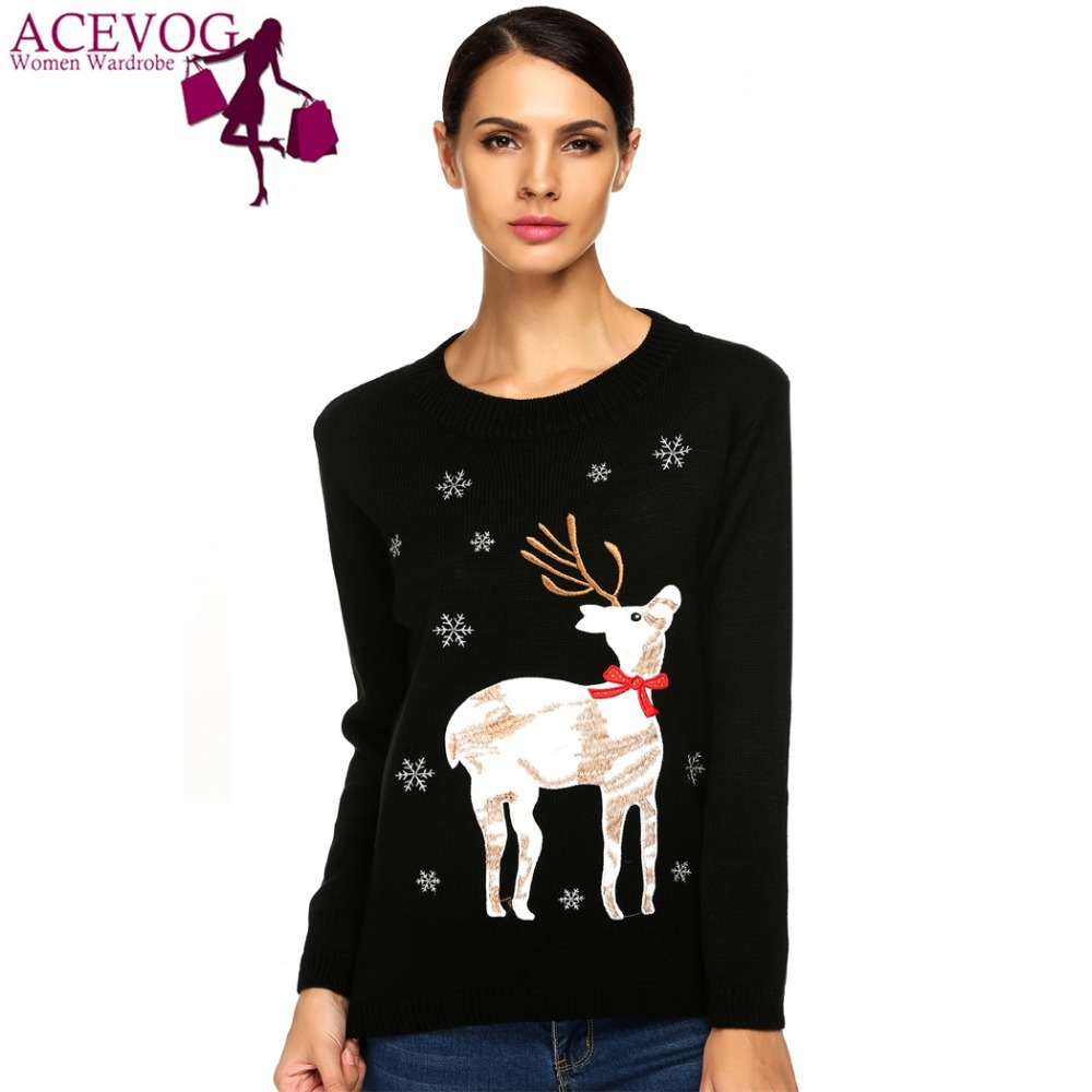 ACEVOG Winter Sweater Christmas Reindeer Pullovers Ladies Casual O-Neck Long Sleeve Elegant Animal Applique Women Sweater M-XL
