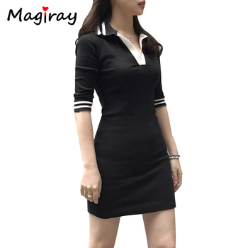Magiray Half Sleeve Polo Collar Mini Dress Bodycon Casual Summer Lady T Shirt Dress Vestidos Robe Femme 2020 Sexy Contrast C172