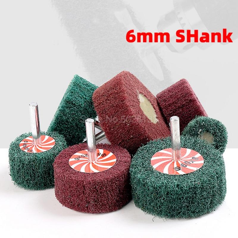 1Pcs 6MM Shank Non-woven Flap Sanding Wheel Fiber Abrasive Scouring Pad Polishing Grinding For Metal Cleaning Head Nylon