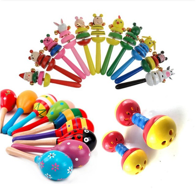 Sensory Toys For 12 Month Old : Baby rattles toys wooden for babies educational