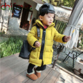 2017 Chifave Cotton Padded Winter Down Coat Suit for Kids Boys Zipper Long Jacket Yellow and Navy Solid 2 Colors Baby Boys Parka