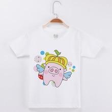 New Arrivals Child Shirt Boys Cartoon Pig Print T-Shirts Fashion Cotton White T Shirts Girls Short Sleeve Tees Funny Kids Tshirt