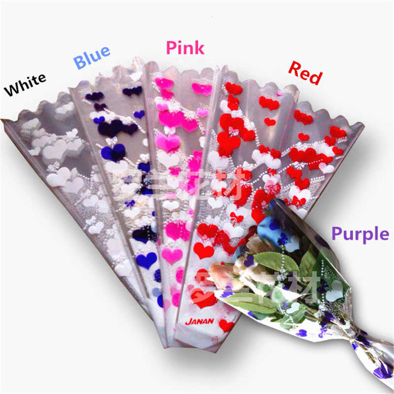 50pc Loving Heart Style Wedding Bouquet Packaging Bag Wrapping Paper Flowers Gift Floral Packaging Materials