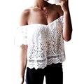 Mulheres Blusa de Renda Escavar Topos Das Culturas de Renda Crochê Ombro Off White Plus Size Strapless Blusa Feminina